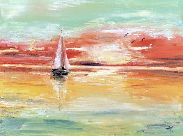 Sailboat. Original art by Tanya Stefanovich