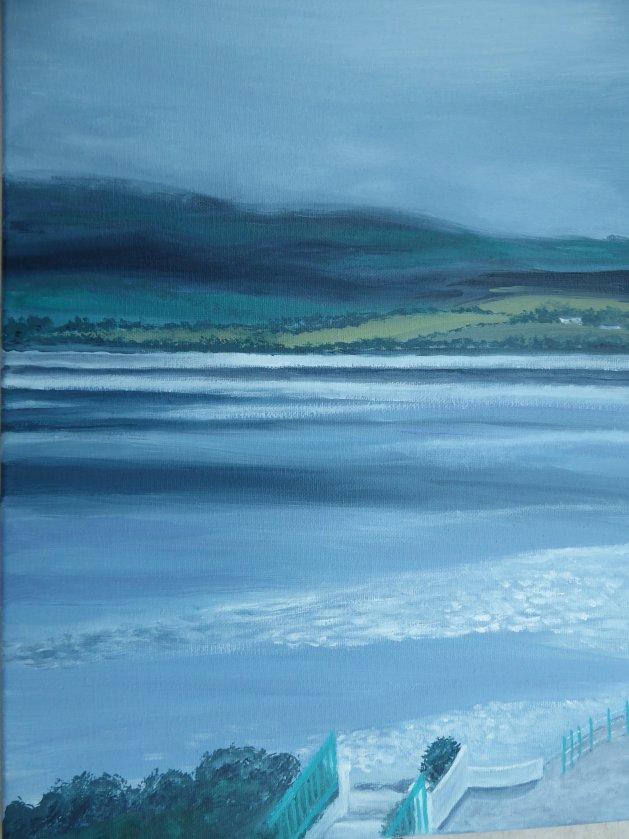 Across the Estuary, Portmeirion. Original art by Mair Oliver