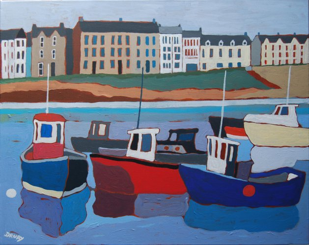 Portrush Harbour. Original art by Randle Drury