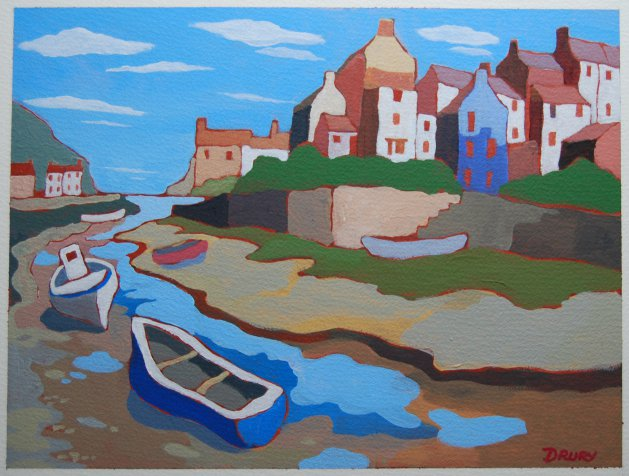Staithes Harbour. Original art by Randle Drury