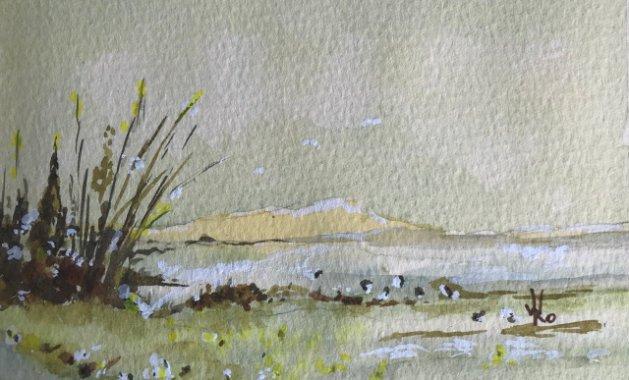 Low tide at Blakeney. Original art by Wendy Lloyd