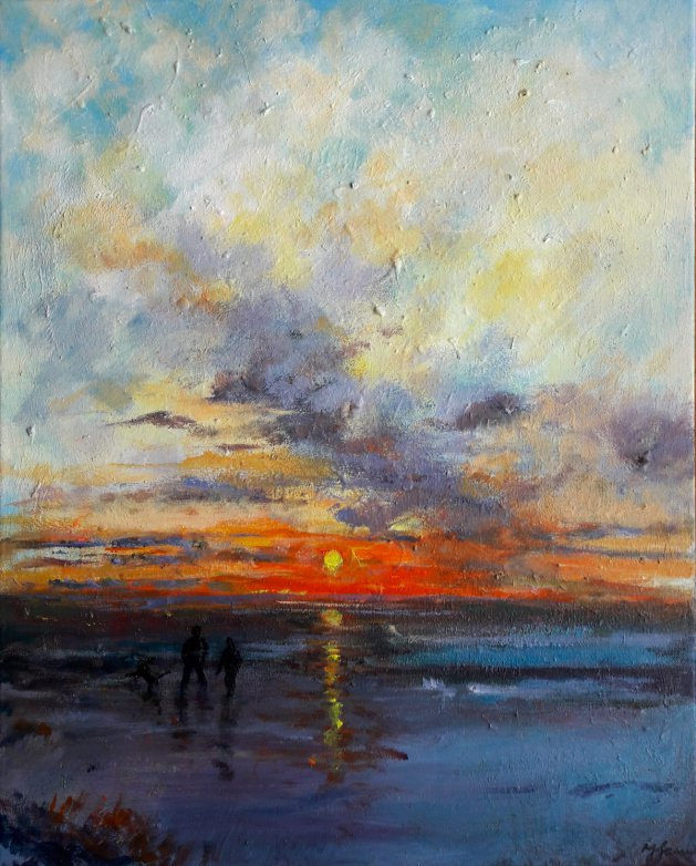 Sunset Beach Stroll with dog. Original art by Teresa Tanner