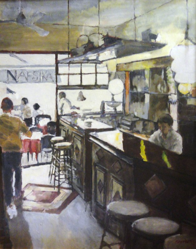 Nafsika; Greek Taverna. Original art by John Wardle