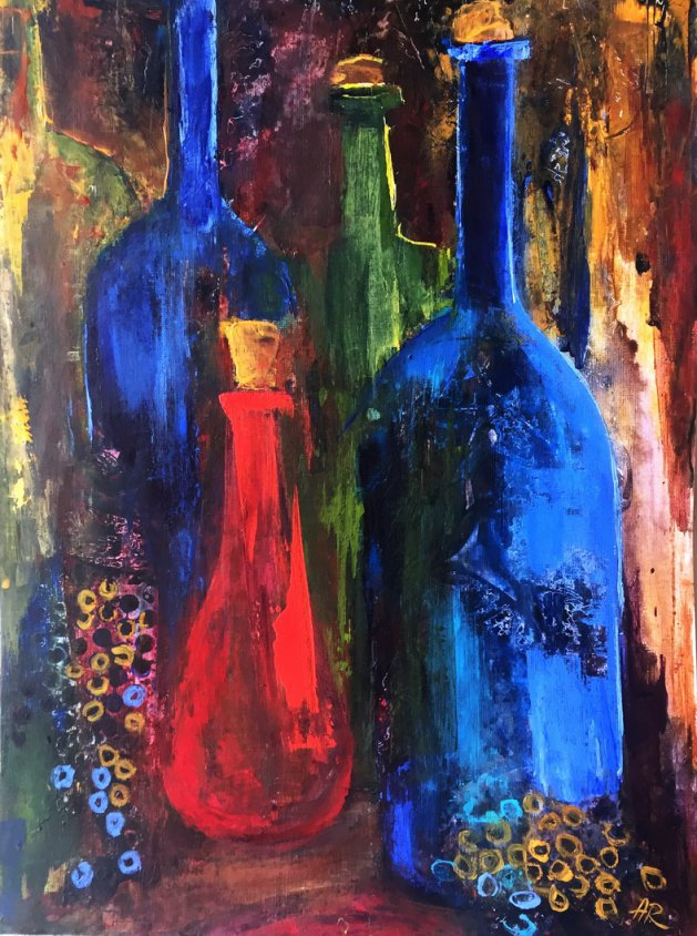 Old Bottles. Original art by Alena Rumak