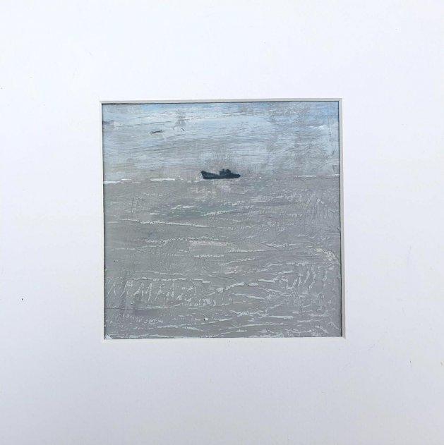 Grey Day boat at Sea. Original art by Teresa Tanner