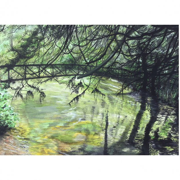 Boxhill in Surrey. Original art by Janet Blower
