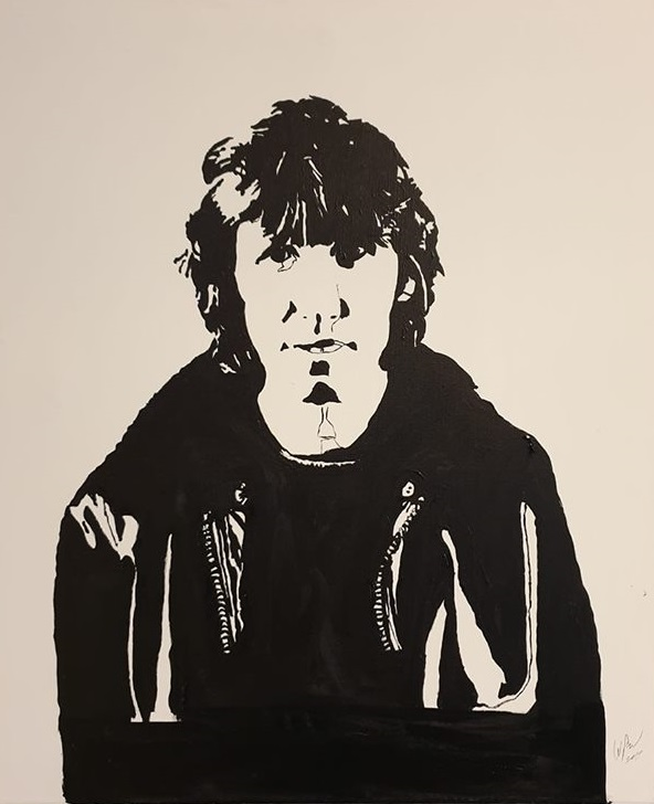 Roger Waters mono canvas. Original art by William Pow