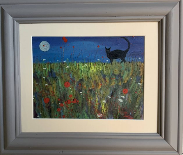 Black cat under a poppy moon. Original art by Sarah Gill
