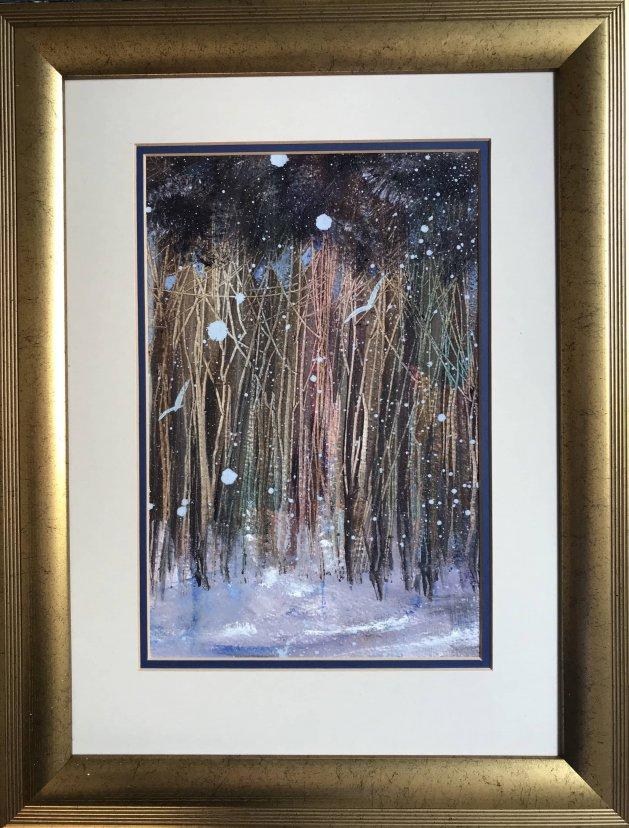 Blizzard in the wildwood. Original art by Sarah Gill