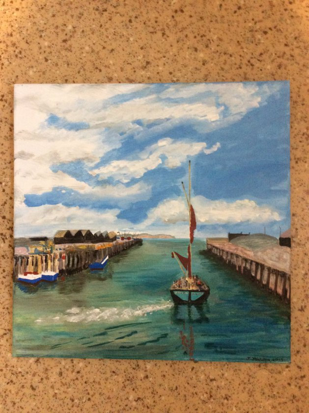 Barge in the harbour. Original art by Judy Johnstone