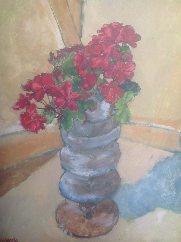 Red Flowers and Glass. Original art by John Wardle