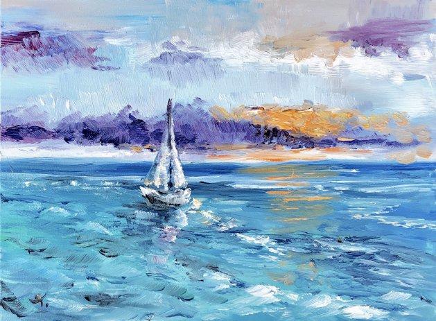 Boat & sea. Original art by Tanya Stefanovich