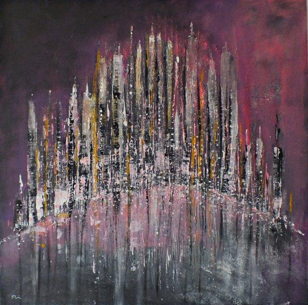 City Lights at Dusk. Original art by Tracey Unwin