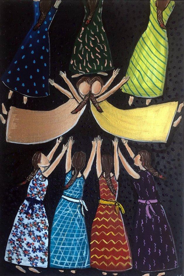 Falling Dolls. Original art by Aisha Haider