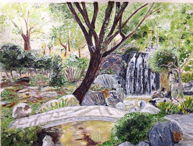 Chinese Garden. Original art by KathleenTaylor