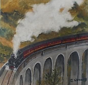 Crossing the viaduct. Original art by Janice Watson