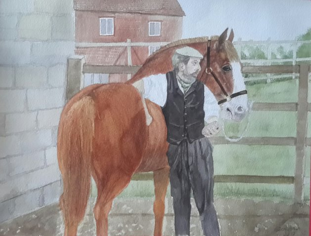 Horse whisperer. Original art by Denny Aitch