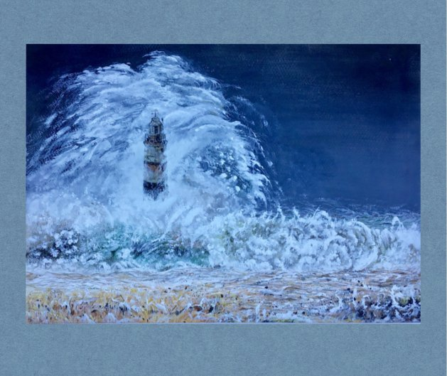 Storm at sea. Original art by Janet Blower