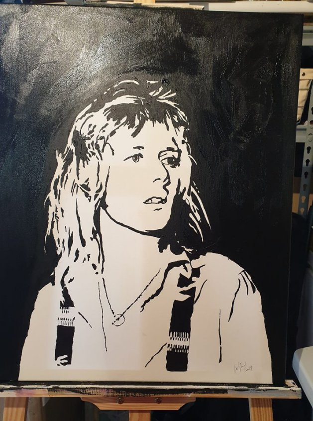 Roger Taylor mono canvas. Original art by William Pow