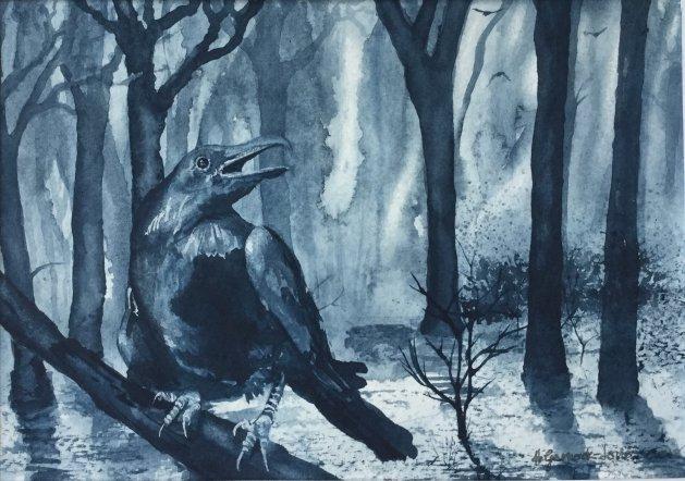 Indigo Raven. Original art by Hilary Garnock-Jones
