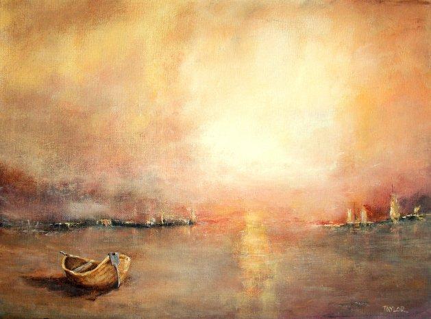 Boat In The Sun. Original art by Paul Taylor