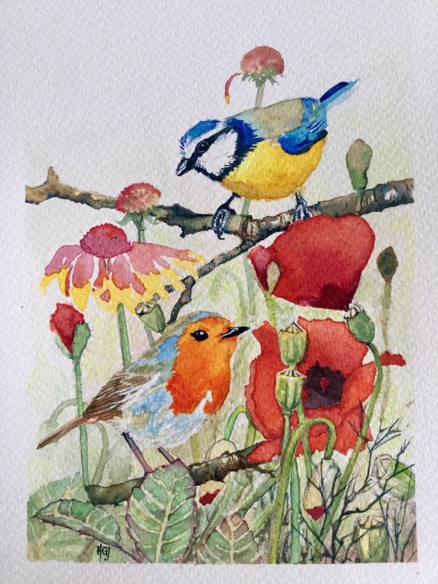 Poppies, Blue Tit & Robin. Original art by Hilary Garnock-Jones