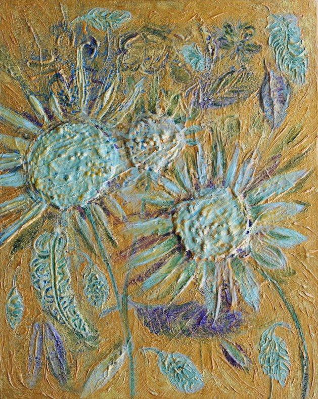 Jade Sunflowers. Original art by Sue Wright