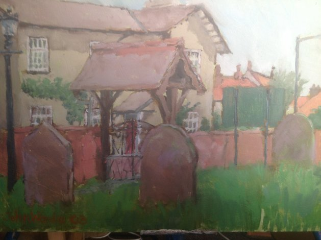 The Lych Gate. Original art by John Wardle