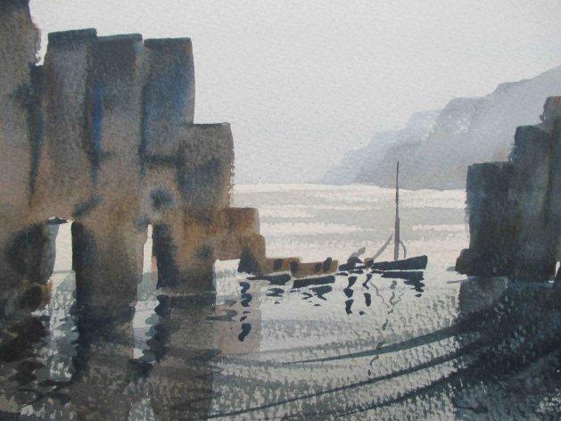 Cornish Coastal Scene 2. Original art by Raymond Mcsharry