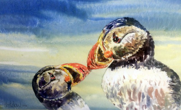 Puffin Kiss. Original art by George Dow