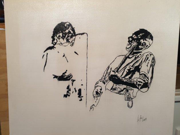 Status Quo mono. Original art by William Pow