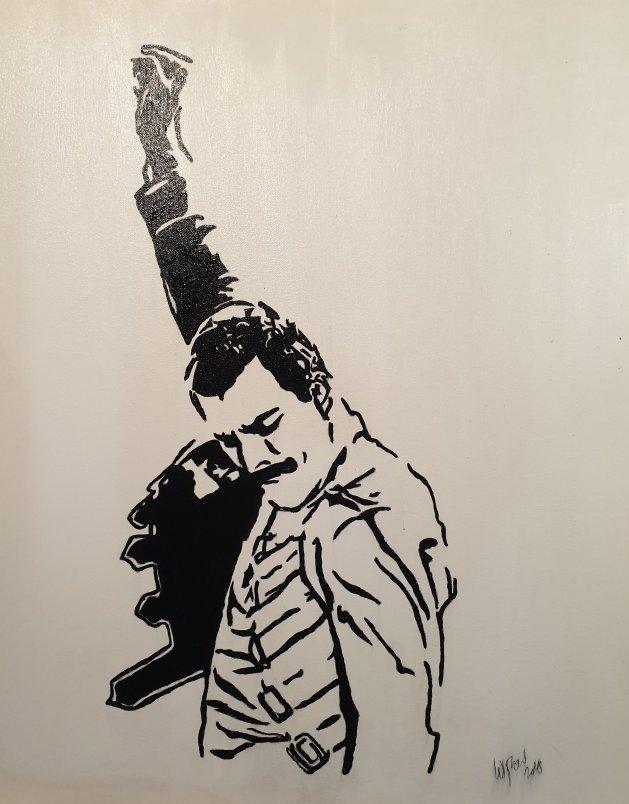 Freddie Mercury mono canvas. Original art by William Pow