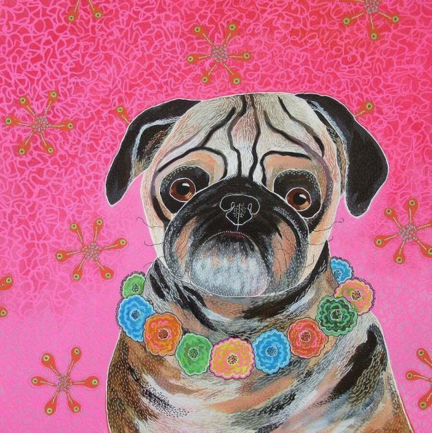 Pug With Flower Garland. Original art by Beatrice Margaret