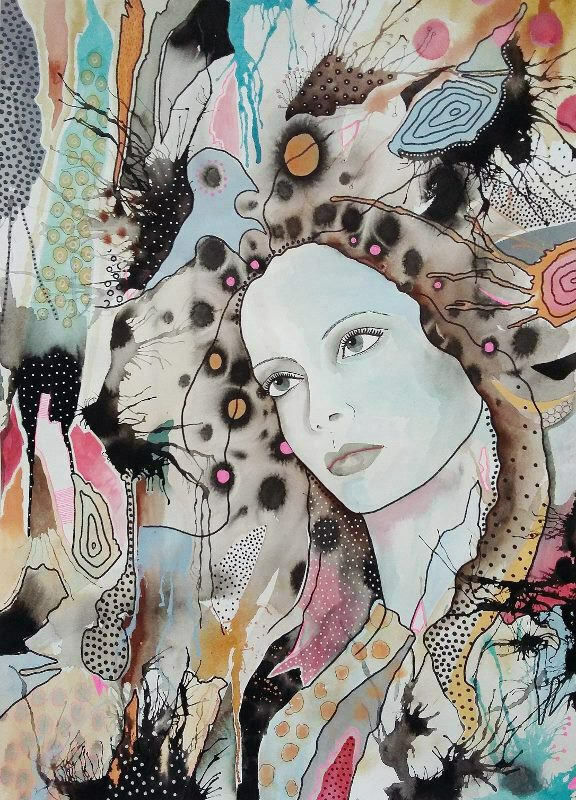 Dreamy Woman. Original art by Beatrice Margaret
