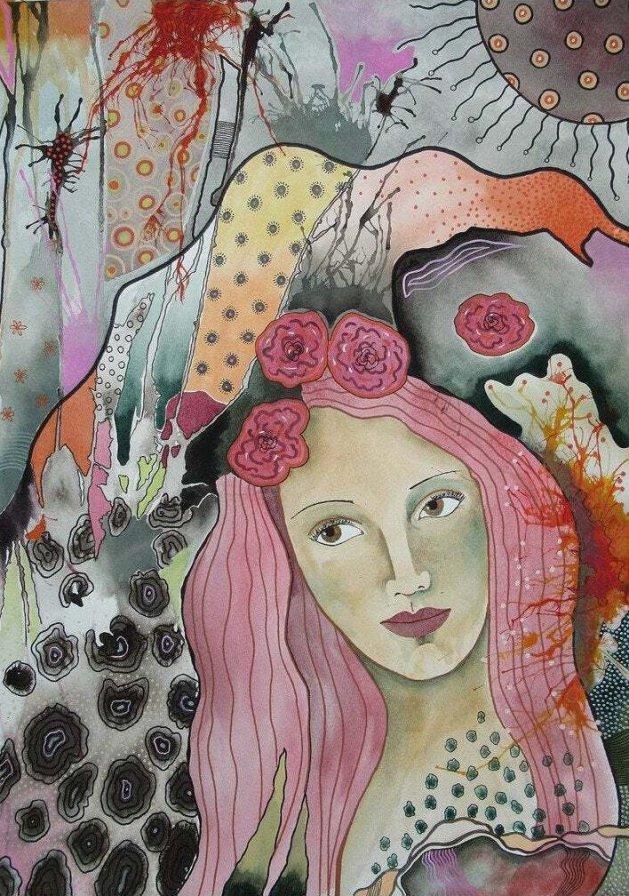 Pink Hair. Original art by Beatrice Margaret