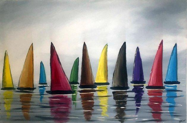 vibrant colourful sails. Original art by Aisha Haider