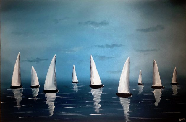 White Sails And Blue Sky. Original art by Aisha Haider