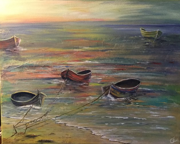 Boats in the late afternoon sun. Original art by Cheryll Hodgson