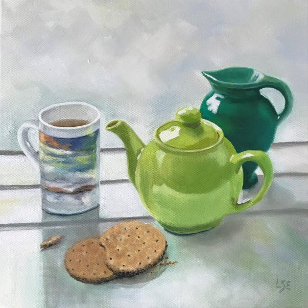 Tea & Biscuits. Original art by Linda Edward