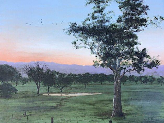 Sunrise at Canberra. Original art by Janet Blower