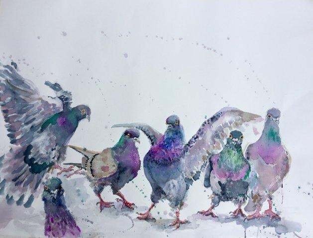 Urban Pigeon. Original art by Yvette Rawson