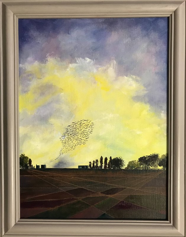 As young as the morning -the murmuration at dawn. Original art by Sarah Gill