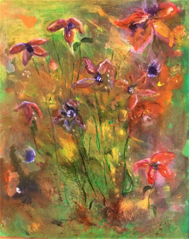 Anemones. Original art by Cheryll Hodgson
