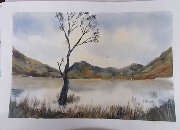 Buttermere lake with Sentinels.. Original art by Janice Watson