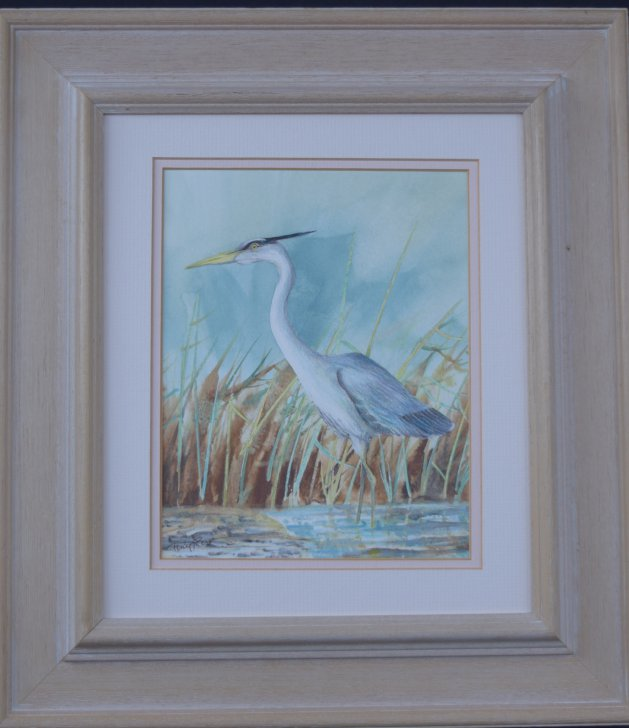 Heron hunting in the Reeds. Original art by Anthony Rose