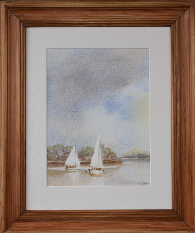 Sailng on Barton Broad Norfolk. Original art by Anthony Rose