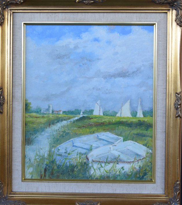 Sailing on the Norfolk Broads. Original art by Anthony Rose