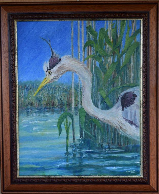 Heron fishing. Original art by Anthony Rose