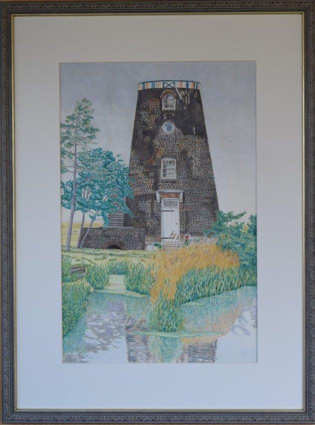 Norton Marsh Mill (c 1995). Original art by Anthony Rose