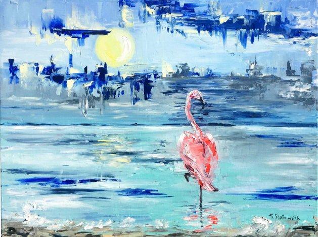 Flamingo 18*24. Original art by Tanya Stefanovich